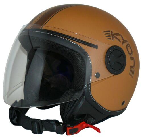 Jethelm motocicleta Casco h710-br marrón mate con rayas Langes visera tamaño xs-xl