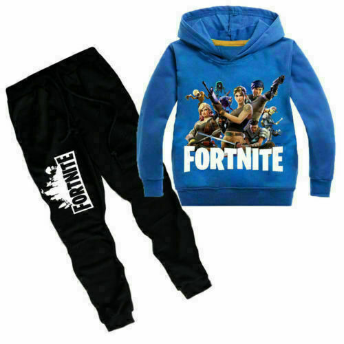 Fort Night Kid Boy Girl Hoodie Pullover Tops Clothes Hooded Sweatshirt Pants Set