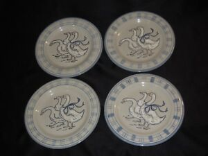 4-Louisville-Stoneware-11-034-Dinner-Plates-Gaggle-of-Geese-Country-Blue-Design-USA