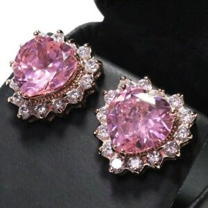 Sparkling-Pink-Sapphire-Heart-Earring-Stud-Women-Jewelry-14K-Rose-Gold-Plated