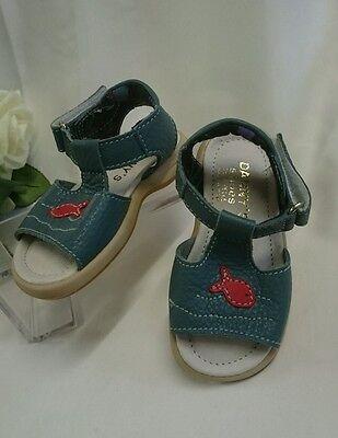 BABY Jungen Kinder Schuhe SANDALEN MADE IN ITALY Gr. 23 Blau Fisch rot LEDER Neu
