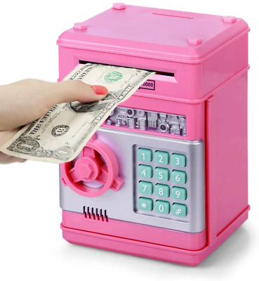 Money Bank with Carving work and Lock Wooden Coins Storage Box piggy bank for kids Gift for Christmas or Birthday