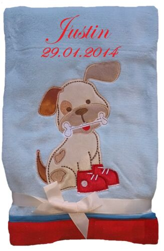 Niedlich weiche Babydecke mit Namen bestickt Kuscheldecke Kinderdecke Decke