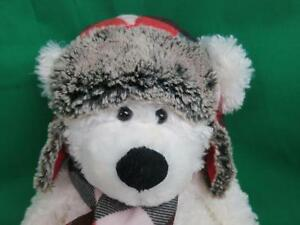 big white smiling winter teddy bear flannel hat scarf. Black Bedroom Furniture Sets. Home Design Ideas