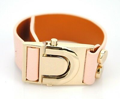 Women Genuine Leather 1 in Wide Bracelet Animal Bangle Cuff Buckle Wristband