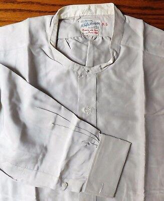 Sulka tunic shirt in grey silk size 18.5 vintage 1950s collarless dated 1955 VGC