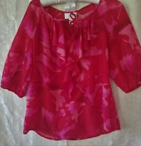 Ann-Taylor-Loft-womens-sheer-ruffled-top-size-small-multi-floral-print-reds-pink