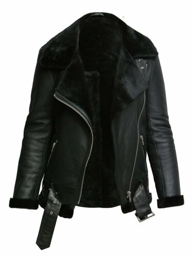 Pilot Genuine Sheepskin B3 Leather Brandslock Shearling Womens Jacket HTqRwqYB5