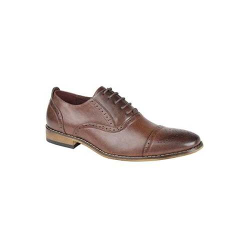 Goor ISAAC Mens Lace Up Toe Cap Leather Lined Smart Formal Oxford Brogue Shoes