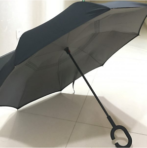 NEW DRIPLESS INVERTED UMBRELLA C HANDLE FOR HANDS FREE PROTECTION NO DRIPS