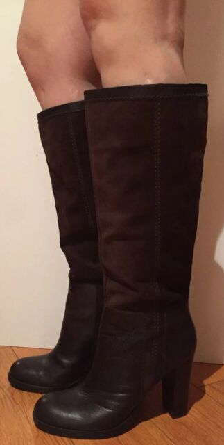 d12f3a88ac6 Nine West Emilio Boots Knee High Tall Heel Pull On Suede Leather Brown 10 M  $170