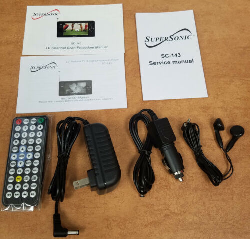 """Rechargeable//USB//Micro-SD Supersonic SC-143 4.3/"""" LED Portable//Pocket TV Remote"""
