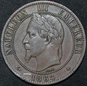 1864-BB-France-10-Centimes-Bronze-Coins-KM-Coins