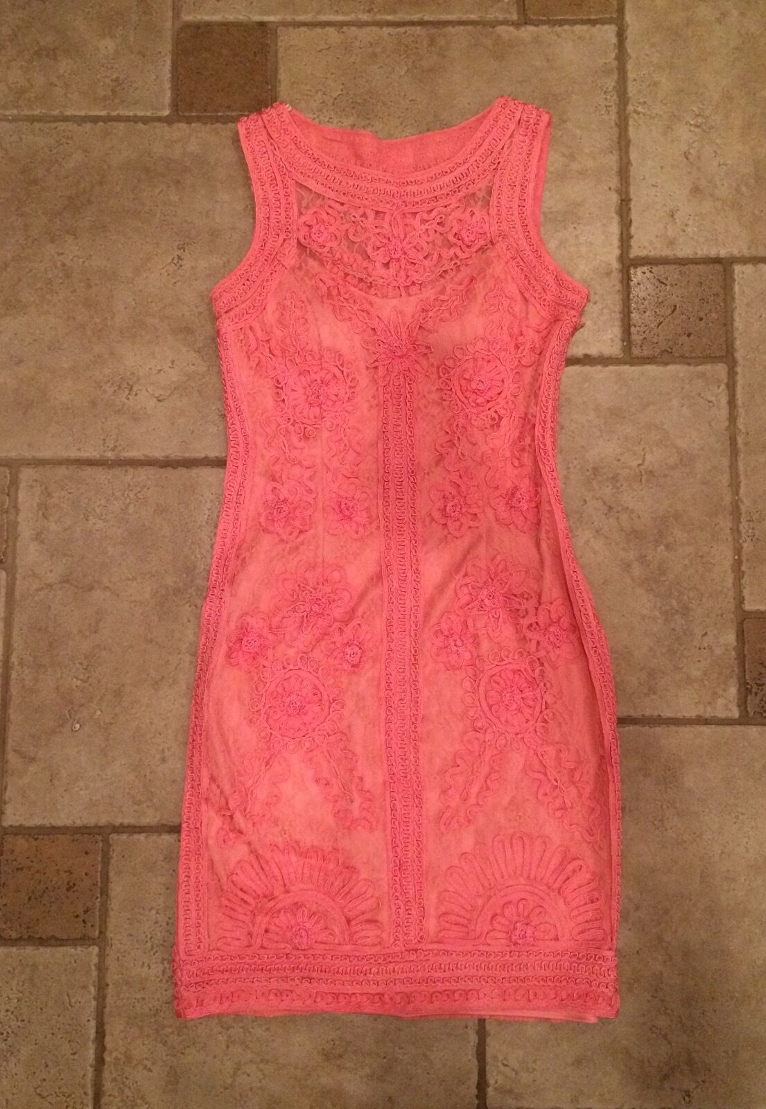SUE WONG NOCTURNE CORAL EMBROIDErot LACE DRESS, SZ. 6