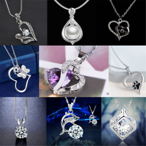 925-Silver-Heart-Cute-Pendant-Women-Flower-Charm-Chain-Necklace-Fashion-Gift-HOT