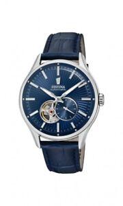 Festina-Herrenuhr-Uhr-Automatik-Automatikuhr-Leder-Blau-Armbanduhr-F16975-2