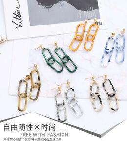 Fashion-Women-Eardrop-Geometric-Acrylic-Long-Drop-Dangle-Stud-Earring-Jewelry