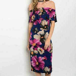 Womens-Beware-Multi-Color-Floral-Off-Shoulder-Sexy-Bodycon-Midi-Casual-Dress-M