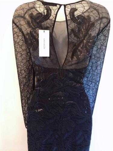 New Karen Millen Leather Sequin Mesh Dress Black UK sizes Evening Cocktail Party