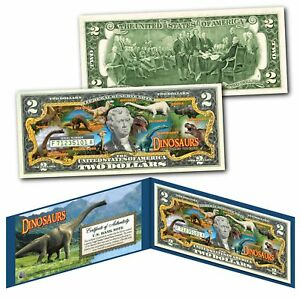 DINOSAURS-That-Roamed-The-Earth-Genuine-U-S-Legal-Tender-2-Bill-with-Display