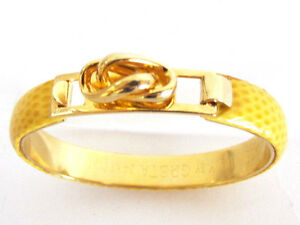 VINTAGE ITALIAN DESIGNER GRETA 24KT PLATED YELLOW LEATHER KNOT