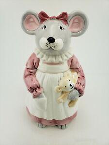 Melinda-Mouse-Mama-with-Teddy-Bear-12-5-034-Ceramic-Cookie-Jar-House-Of-Lloyd