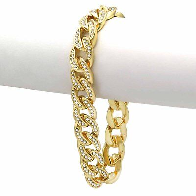 "14K Yellow Gold Plated Hip Hop Cubic Zirconia 8.5/"" Miami Cuban Link Bracelet"