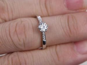 0-56-Ct-Rund-Schliff-Diamant-Verlobung-Hochzeits-Ring-14K-Massives-Weissgold