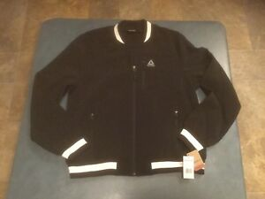 Reebok Women's XL Black & White Varsity Full Zip Fleece Lined Jacket NWT