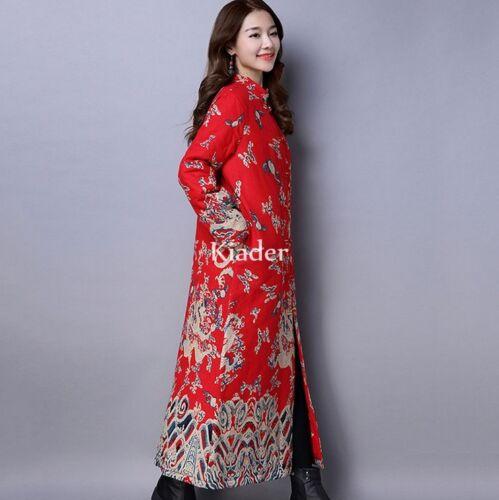 etniche cotone cotone lungo stampe con imbottito 100 cinesi in Cappotto vnH4awn
