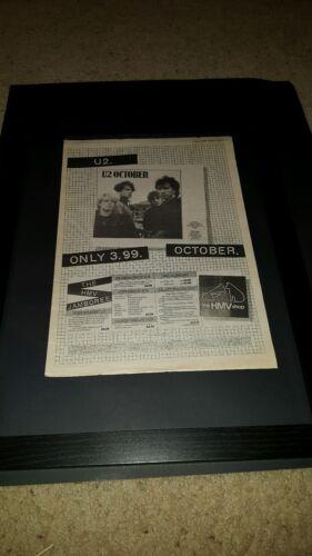 U2 October Rare Original HMV Records UK Promo Poster Ad Framed!