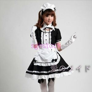 2017-Fashion-Ladies-Women-039-s-Maid-Costume-Lolita-Dress-Cartoon-Cosplay-Suits-Size