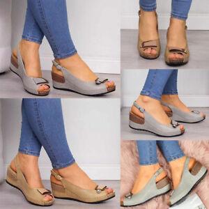 Womens-Low-Wedge-Heel-Sandals-Ladies-Summer-Peep-Toe-Ankle-Buckle-Shoes-Size