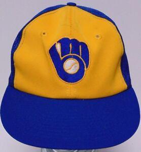 Image is loading Vtg-1980s-MILWAUKEE-BREWERS-MLB-BASEBALL-MESH-SNAPBACK- 177e68220139