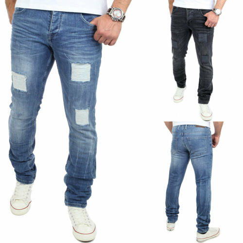 Reslad Jeans-Herren Destroyed Style Slim Fit Stretch Denim Jeans-Hose RS-2072