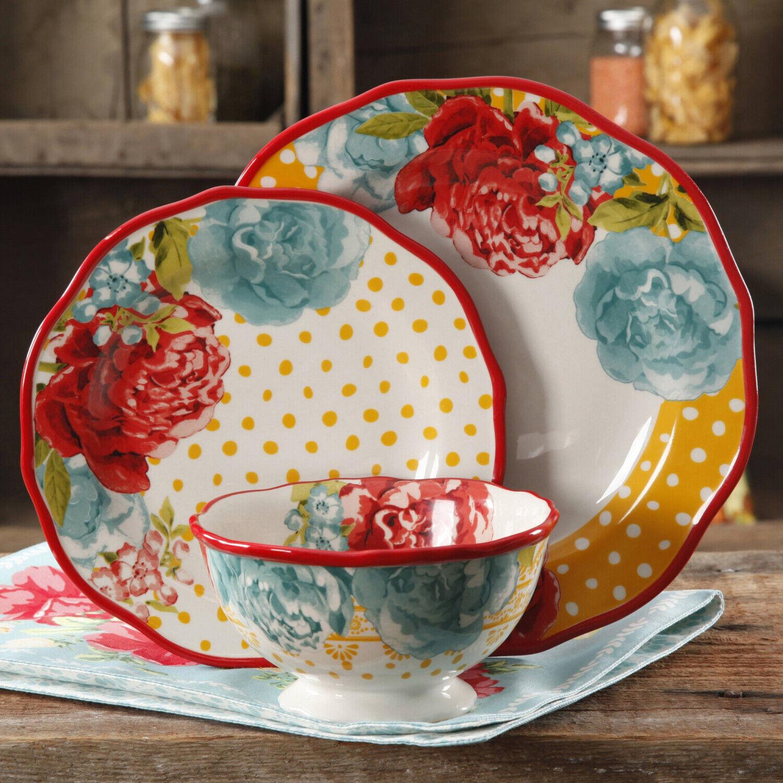 12 Pièces Dinnerware Set Assiette Bol salade Blossom Jubilee alimentaire le Pioneer Femme