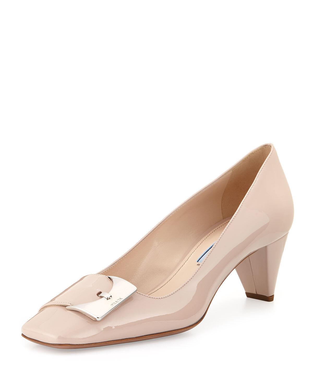 720 Prada Patent Leather Low-Heel Buckle Ornament Pumps Nude Beige shoes 38- 8