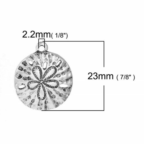 Sand Dollar 23mm Antiqued Silver Plated Beach Charms C5655-2 5 Or 10PCs
