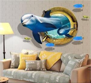 Wandtattoo-Delphin-3D-XXL-Wandsticker-Sticker-Meer-Unterwasserwelt-Delfine-Marin
