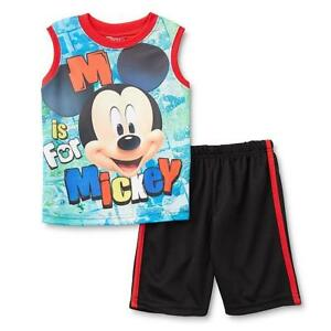 Disney Mickey Mouse Toddler Boys 2 Piece Shirt Shorts Set Size 24M Sleeveless