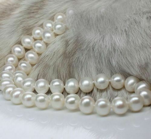 24''  AAA++10-11 MM AKOYA NATURAL White PEARL NECKLACE 14K GOLD  CLASP