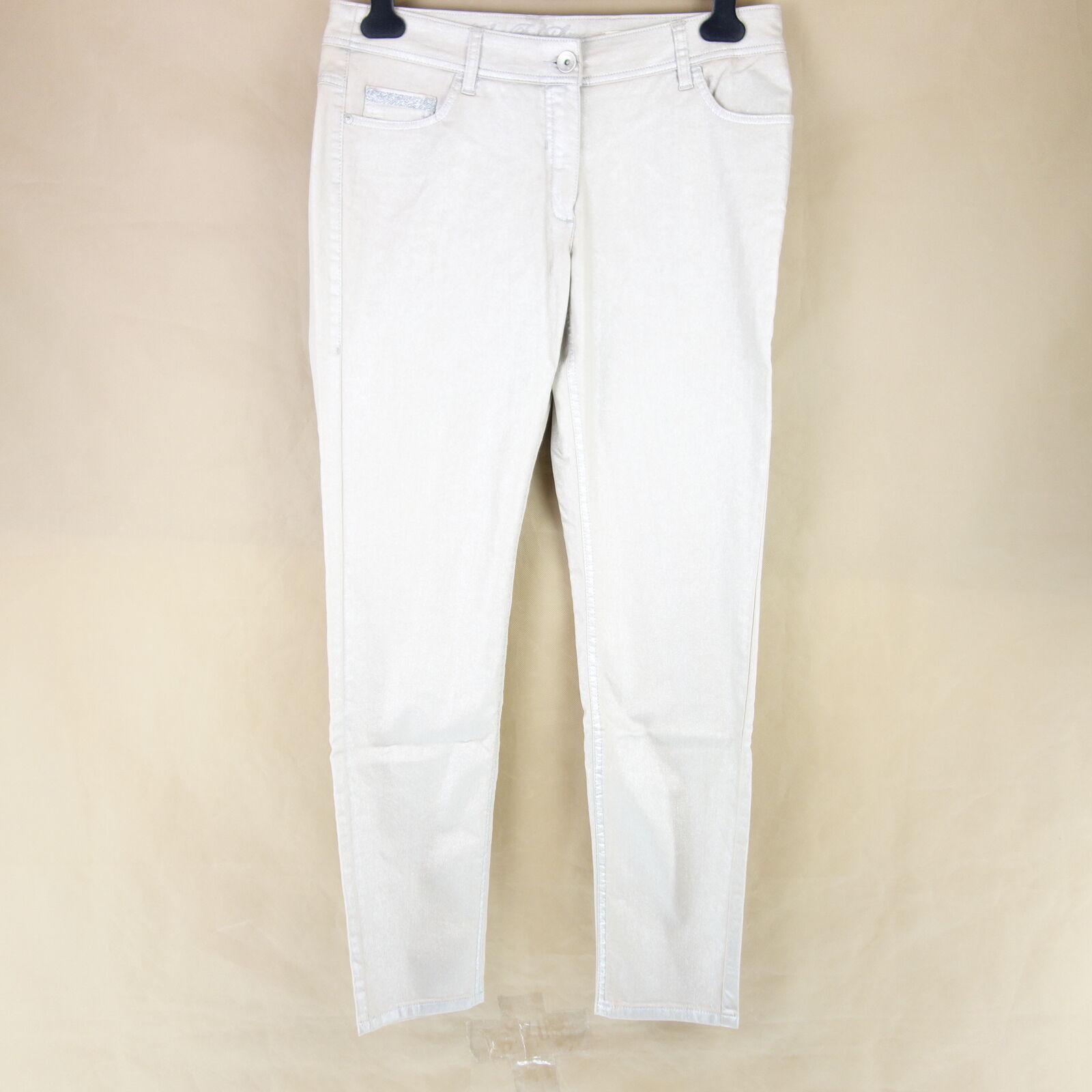 Laurèl Laurel Women's Jeans Trousers Lisa Skinny Size 42 Beige Rhinestones Np199