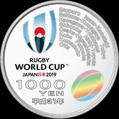 SILVER UNC COIN WITH BOX New JAPAN 1000 YEN 2019 RUGBY WORLD CUP 1 OZ