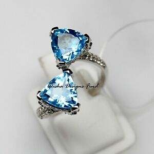 Natural Blue Topaz Faceted Trillion Stone 925 Solid Silver Women Designer Ring