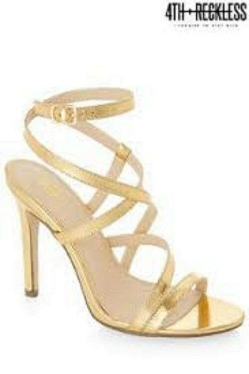 LADIES gold HEELS SANDALS SIZE 8 BY 4TH & RECKLESS NEW WITH BOX   FREE