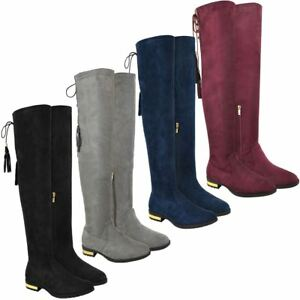 Womens-Flat-Low-Heel-Over-The-Knee-Thigh-Boots-Stretch-Zip-Riding-Boots-Size