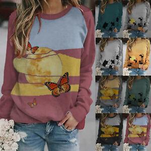 Women-Cat-Print-Long-Sleeve-Jumper-Sweatshirt-Ladies-Blouse-Casual-Pullover-Tops