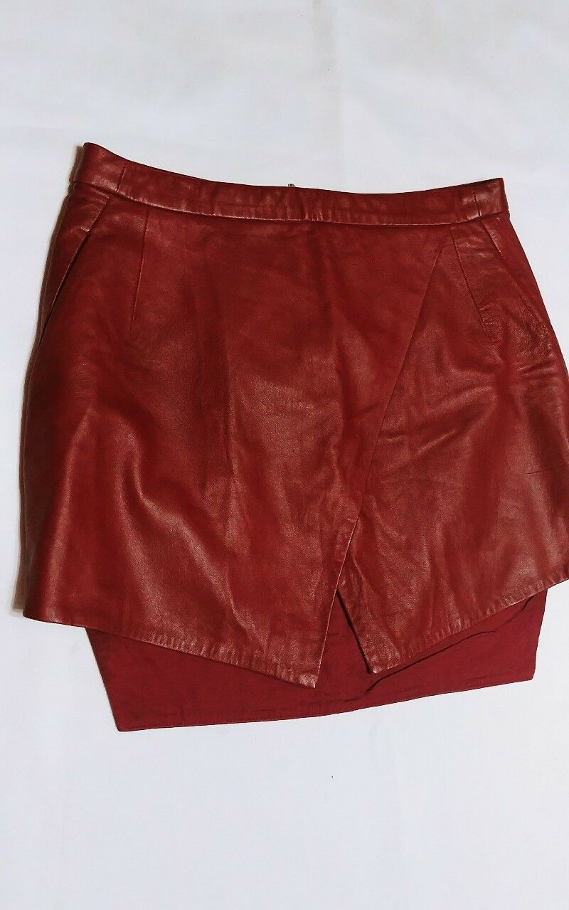 Dion Lee Line II Leather Echo Wrap Skirt Burgundy  Wine color size 6