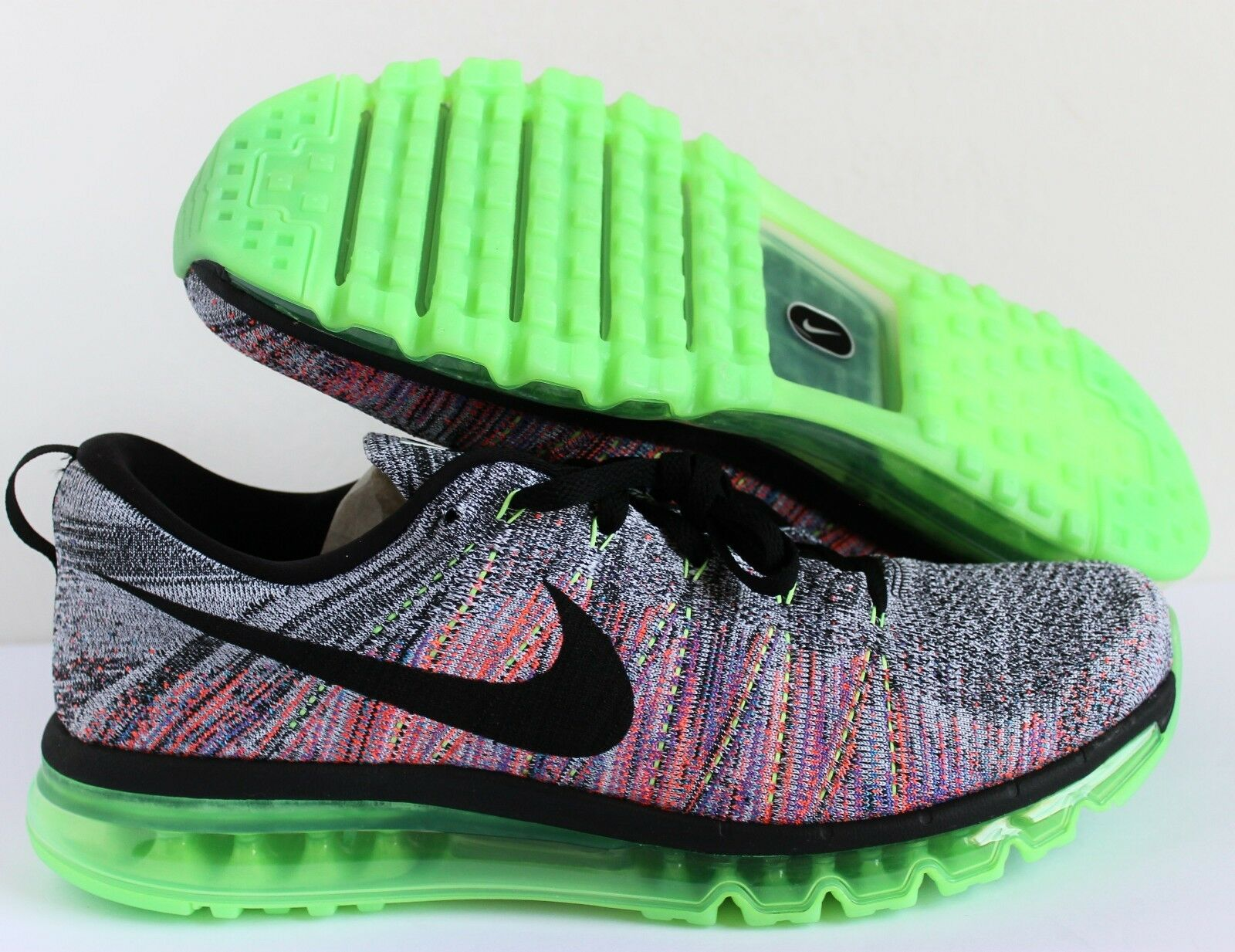 NIKE MEN FLYKNIT MAX MULTI-COLOR WHITE/BLACK-GHOST GREEN SZ 14 [620469-103]
