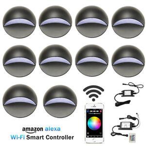 10XSmart-Wifi-50mm-12V-Black-Half-Moon-LED-Deck-Stair-Light-Step-Fence-Wall-Lamp
